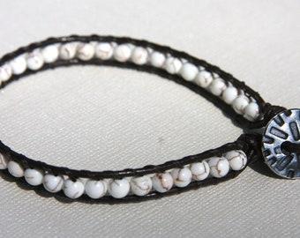Leather Bracelet,White,Brown, Wrap, White Howlite Beads