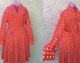 70s Red and white polka dot dress