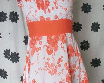 Strapless Orange and White Sundress