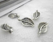 """Small leaves Antique silver plated Charms  30 Pcs  Diameter 0.7""""x 0.4""""  inch No. F805 for bracelets, necklaces"""