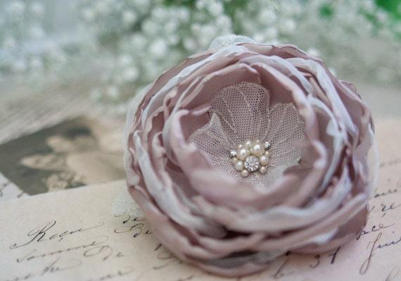 Bridal Silk Flower Hair Clip - Wedding Accessories - Beige Hair Flower - Tan - Ivory - Sand Beige Bridal Hairpiece - Wedding