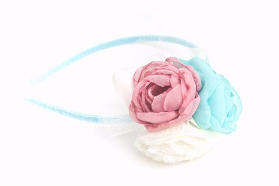 Flower Headband, Dusty Rose, Light Mint, Ivory, Chiffon, Lace, Pastel Flowers, Girls, Adult, Headband, Hair Accessory, Headpiece