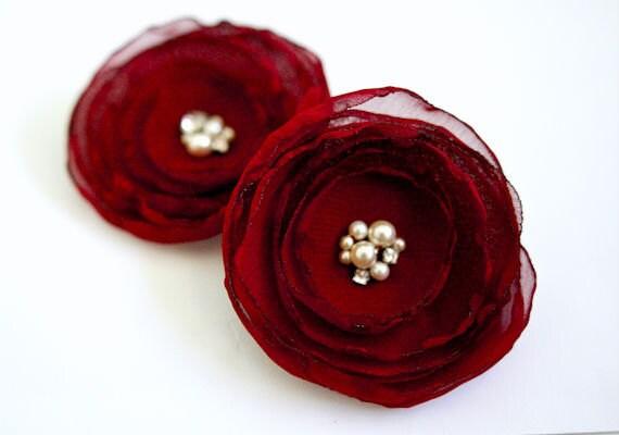 Burgundy RED Wedding Hair Flowers (2 pcs) Chiffon Swarovski Pearls Wine Deep Red Hair Clips Bridesmaids Hair Accessories