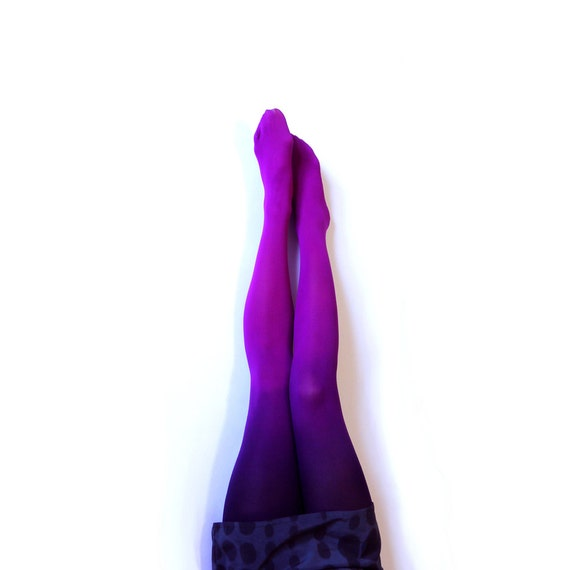 Ombre Tights gredient tights. Hand dyed Fuschia Magenta and Black //sale- IRREGULARS