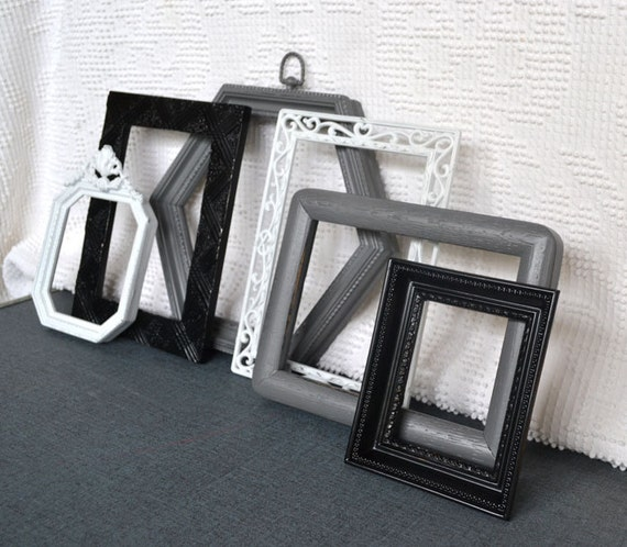 Modern Ornate Vintage Frames Set of 6 Black White Greys - Upcycled Painted Frames with Octagon hexagon frames
