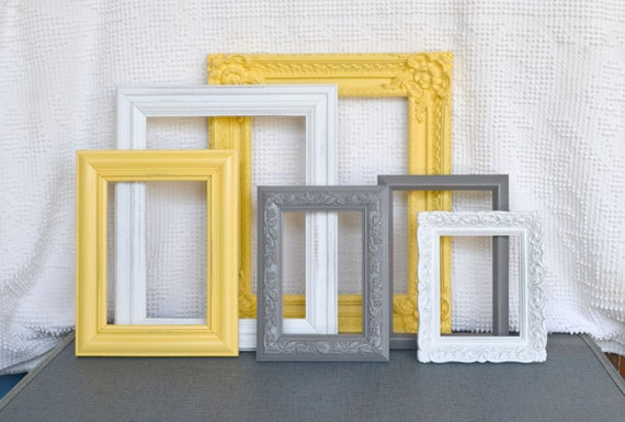 yellow grey gray white ornate frames with glass set of 6 upcycled frames modern