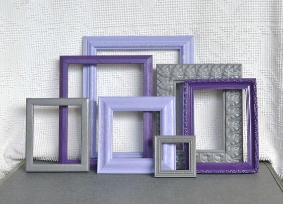 Purples, Greys Gray  Painted Frames Set of 7 - Upcycled Frames Girls Modern Elegant Nursery decor
