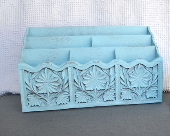 You CHOOSE Color....Vintage Desk Organizer Upcycled Ornate Office Study Computer desk Decor Aqua, Green, Teal White Grey Yellow Peacock Blue