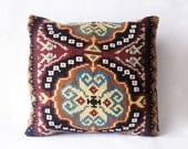 Big Kilim Geometric Pillow Cover for Home decor, Balcan pillow - Bohemian Ethnic Wool Rustic Turkish Hand Woven Kilim Pillow Case  20 x 20