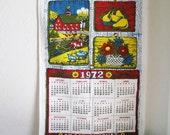 Vintage 1972 Kitchen Towel Calendar Date Barn Farm Cow Mod HIPPIE Boho Modern Midcentury-Yellow Blue Green Red