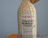 Vintage Wicker Wrapped Wine Bottle with Lid Camarate