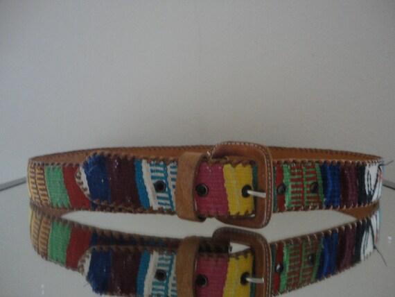 Handsome Vintage Handmade Woven Leather Belt with Artisan Stamp