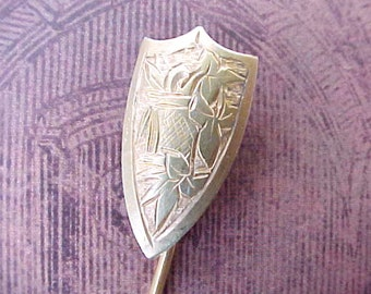 Beautiful Little Antique Gold Filled Over Silver Renaissance Styled Shield Stickpin