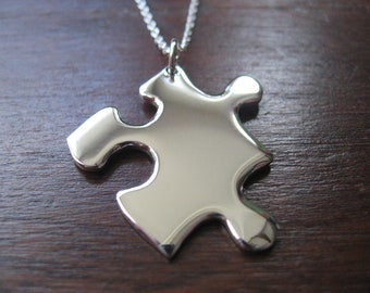 Jigsaw Puzzle Piece Silver Pendant Necklace
