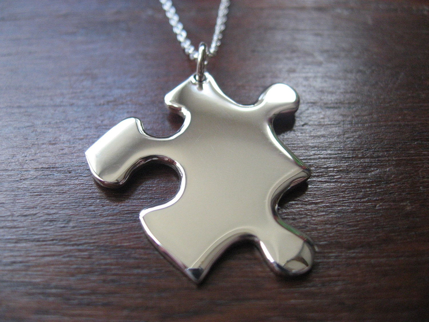 jigsaw puzzle silver pendant necklace
