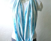 Circle scarf, cowl, spring scarf, washed turquoise blue jersey knit, light and cozy,wide.