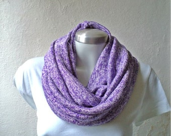 Flecked purple, french lilac, Infinity scarf, cowl, chunky, jersey knit fabric. WIDE.
