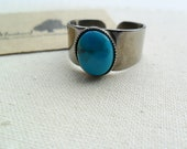 Blue turquoise gemstone silver stainless steel adjustable ring