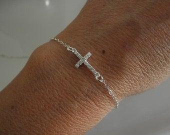 CZ sideways cross bracelet on sterling silver chain