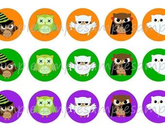INSTANT DOWNLOAD Halloween Owl Bottlecap Image Sheets