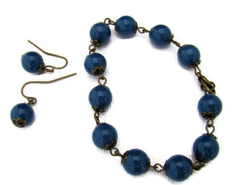 Jewelry Set, Bracelet with Matching Earrings in Dark Blue and Bronze
