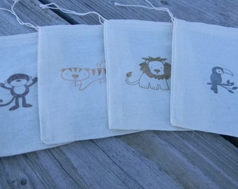 Set of 12 Hand stamped Jungle Theme Monkey Tiger Lion Tucan Birthday Muslin Gift Favor Bags 100% organic made in america