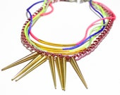 Sealolly, neon pastel necklace, rainbow strings gold spikes chunky chains, seapunk mermaid style, OOAK statement necklace