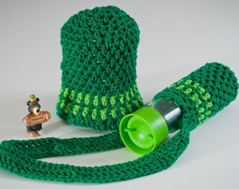 Spring SHOP EVENT Water Bottle Sling, Greens Striped, Christmas in July, CIJ