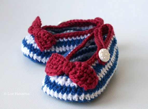 Crochet Patterns Explained : Crochet Pattern Nautical Baby Boots pattern crochet von LuzPatterns