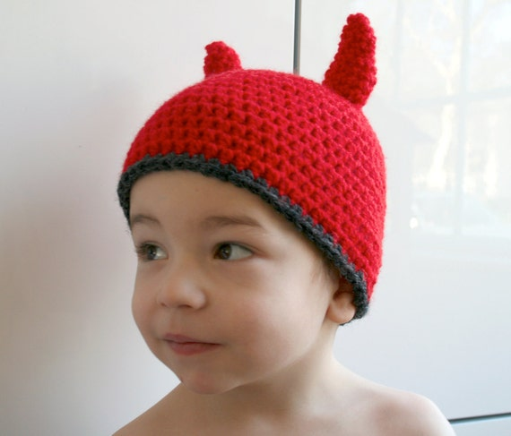 Crochet hat pattern, INSTANT DOWNLOAD, crochet baby halloween pattern, Crochet little devil hat pattern (38) includes 4 sizes newborn adult