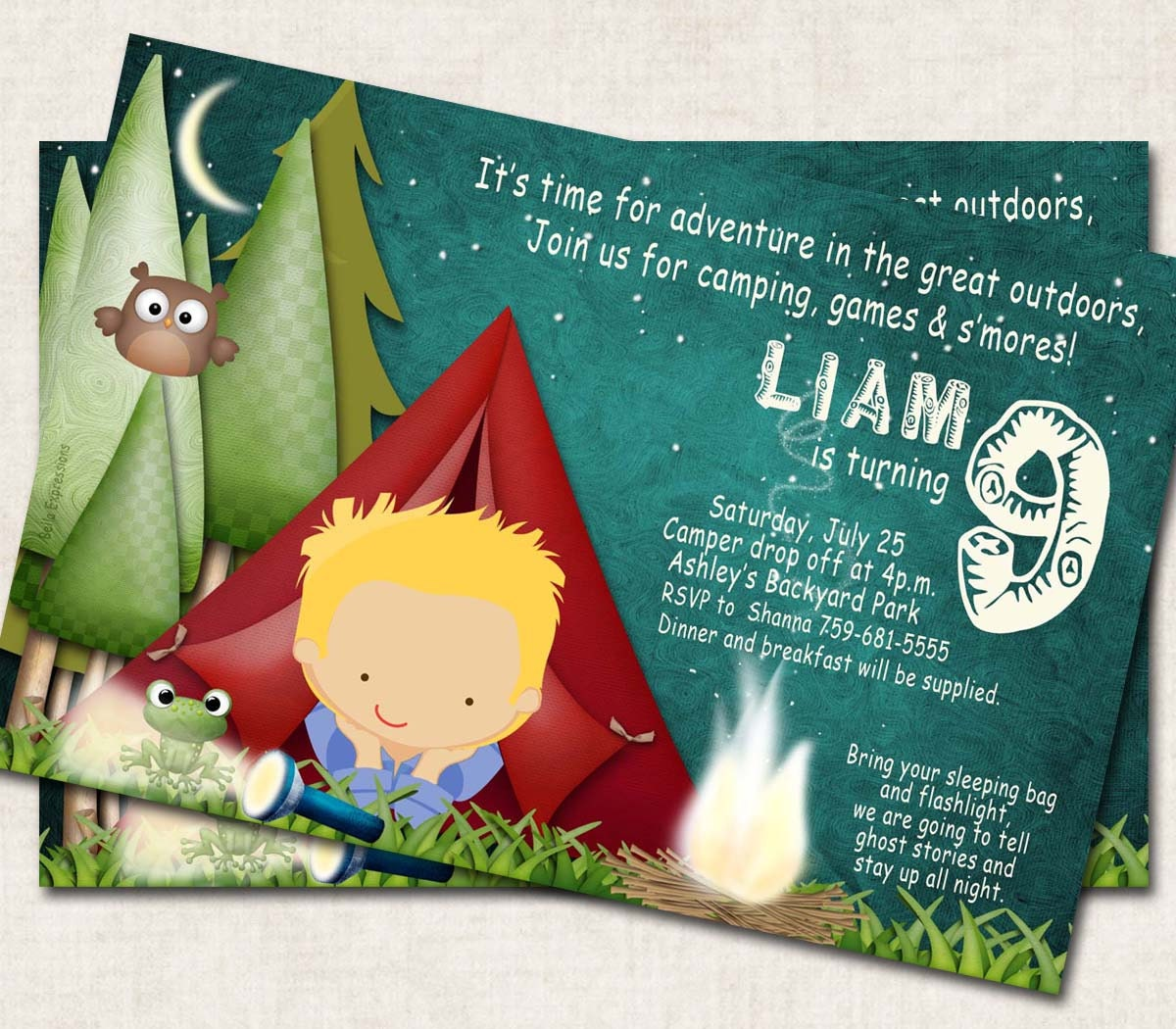 Camping Birthday Party Invitation Green By