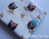 Ivory, brown and blue owl needle book
