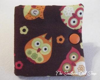 Brown, green and orange owl needle book