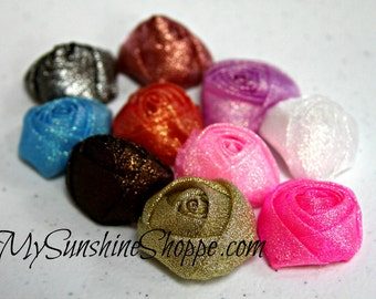 GLITTER Rolled Rosettes -1.25 inch - set of 12