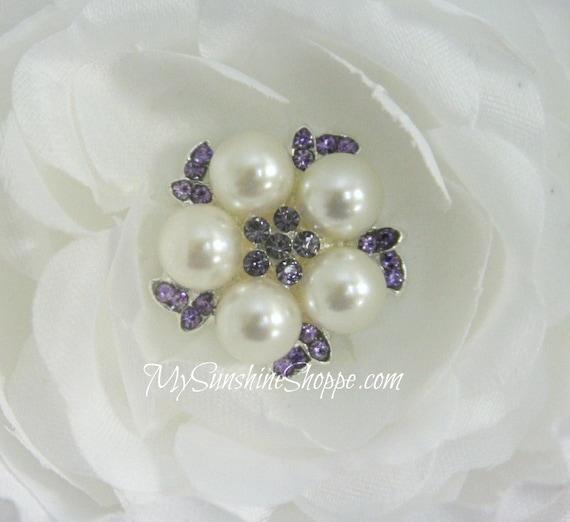 Vintage Metal Buttons - Pearl Gem - Lavender Stones - 26mm - set of 5