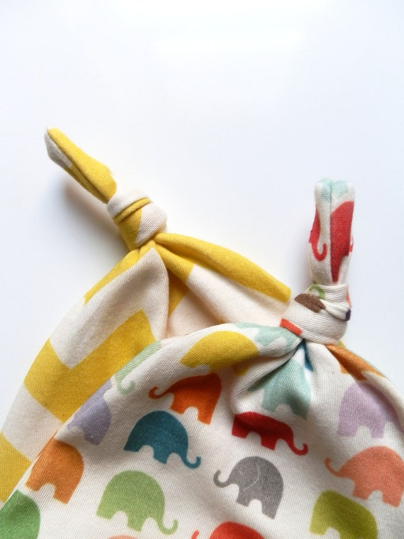Neutral Baby Hat, Set of 2, Newborn Hats in Bright Elephants and Yellow Chevron, Organic Cotton Caps