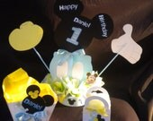 Baby Mickey Mouse 1st Birthday Personalized Centerpiece,and  24 Treat Boxes