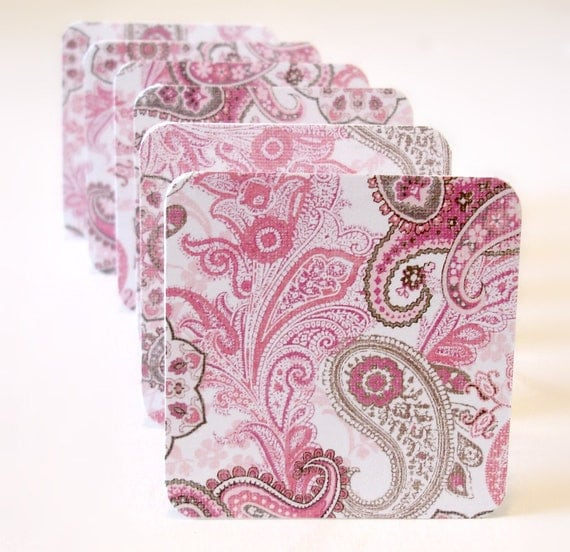 Pink and brown pasiley mini cards gift cards lunchbox notes blank mini greeting cards Set of 6 handmade mini card set