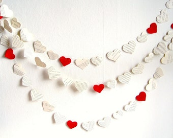 Paper heart garland decor, Book paper hearts garland, red white Christmas garland, bridal shower decor, wedding shower banner