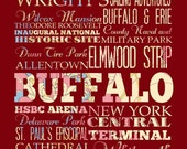 Buffalo, New York, Typography Poster/Bus/ Subway Roll Art 16X20-Floral Series-Buffalo'sAttractions Wall Art Decoration-LHA-211-C08