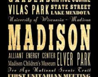 Madison, Wisconsin, Typography Art Poster / Bus/ Transit / Subway Roll Art 18X24-Madison's Attractions Wall Art Decoration-LHA-268