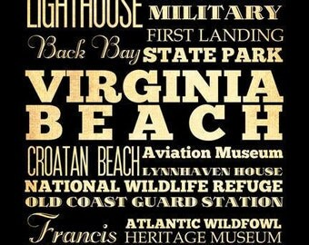 Virginia Beach, Virginia, Typography Art Poster / Bus/ Transit / SubwayRollArt18X24-VirginiaBeach's Attractions Wall Art Decoration-LHA-204