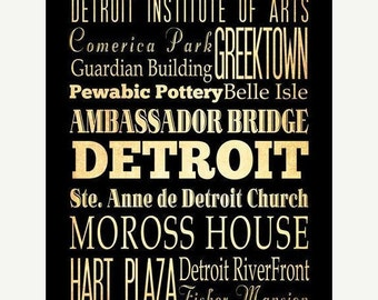 Detroit Typography Art Poster / Bus  / Transit / Subway Roll Art 18X24 - Detroit's Attractions Wall Art Decoration -  LHA-183