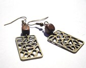 Simple and Chic Bohemian - Antique Brass - Pattern Earrings with Small Wood Cube Beads