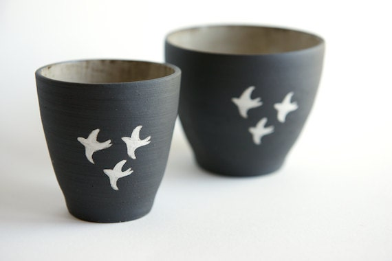 Nesting Bowls in Black Stoneware- Swallow Design- Black and White by Ross Lab- Set of 2