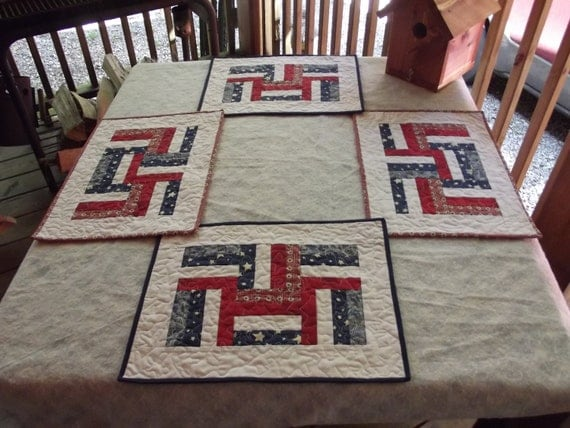 Red, White, and Blue Patriotic Holiday Place Mats set of 4 On Sale