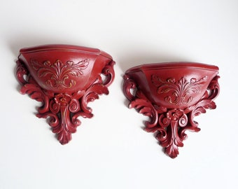 Vintage Syroco / Homco - Shabby Chic Red, Upcycled Wall mounted planters, vases, pockets