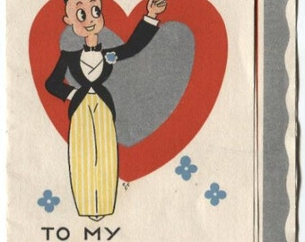 Vintage To My Valentine Card From the Betty Boop Era  Hearts and Flowers