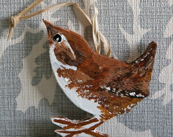 Wooden British Brown Wren Christmas Tree Decoration