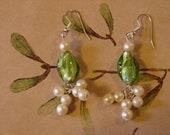 Pierced Earrings Green Glass and Pearl Bead Mistletoe Kisses